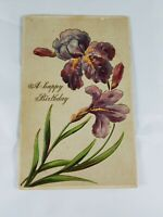 Vintage A HAPPY BIRTHDAY Greeting Postcard Purple Embossed Flower 1920s?