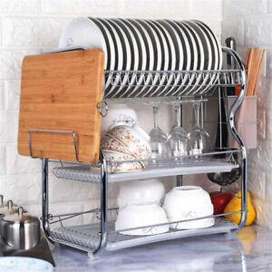 3 Tier Kitchen Dish Drainer Chrome Alloy Storage Rack Cutlery Bowls Cups Holder