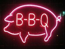 """New BBQ Pig Chef Beer Wine Whiskey Bar Pub Light Lamp Neon Sign 17""""x14"""""""