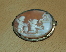 Antique Oval Pinchbeck or Gilt Metal Cherubs Gathering Water Carved Cameo Brooch