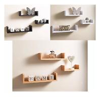 floating U shape set of 3 wall storage Shelves Black white Grey  and oak