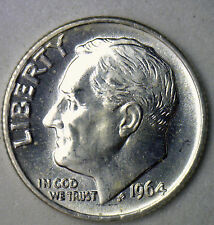 1964 Silver UNCIRCULATED BU Roosevelt Dime Ten Cent Coin from Nice 10c Roll #R
