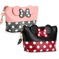 Minnie Mickey Mouse Polka Dot Cosmetic Travel Bag Case Pouch Clutch Bag Handbags