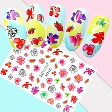 Nail Art Stickers Transfers 3D Self Adhesive Multicoloured Flowers (Xf3020)