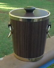 Vintage Ice Bucket Brown Wood-grain Laminate, Anodised Alum Trim & Bakelite Knob
