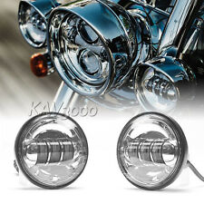 """2x 4-1/2"""" Chrome LED Auxiliary Spot Fog Passing Light Lamp For Harley Motorcycle"""