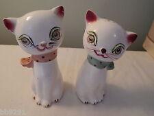 Vintage Japan Blinking Eye Cat Salt & Pepper Shakers Polka Dot Scarves