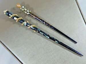 VTG LOT OF 2 ASIAN STYLE HAIR STICKS LACQUERED MOP INLAY FAUX PEARL & RHINESTONE