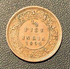 VF Colonial India Victoria 1894  half 1/2 Pice Coin!