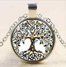 1 pcs Metallic tree of life Glass Cabochon Tibet silver pendant chain necklace
