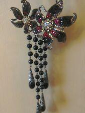 Raro RRP £ 50 BNWT Wallis Floral Colgante Perla Collar Enorme Cristal Negro