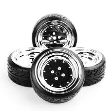 12mm Hex Flat Drift Tires Wheel Rims 4x 62mm Set For HPI HSP 1:10 RC On-Road Car