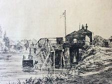 Pointe sèche Arthur Evershed Sur les rives de la Tamise  Gravure 1876 Angleterre