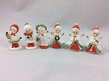 Lot Of 6 Vintage Bone China Choir Christmas Figures Spaghetti Trim Napco Japan