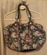 LUCKY BRAND Large Tote Hobo Shoulderbag Navy Purple Floral Black Leather Handles