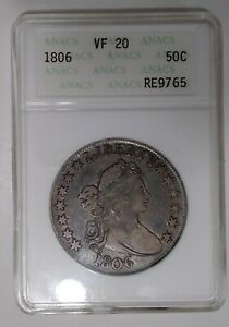 1806 ANACS VF20 BUST HALF DOLLAR POINTED 6 NO STEM 50¢ ATTRACTIVE BLUE TONE