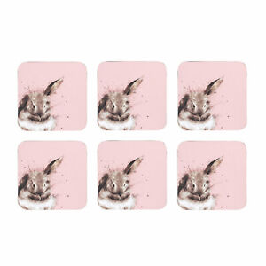 Wrendale Set of 6 Pink Rabbit Coasters