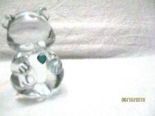 Fenton Clear Glass Birthstone Bear May Emerald