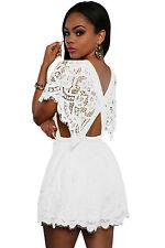 Ladies Playsuit Jumpsuit  Romper Shorts White Lace Backless Beach dress  10