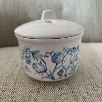 Vintage Christina Glazed Ceramic Blue White 4-flower Bud Vase