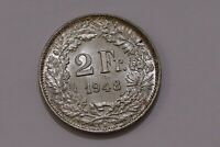 SWITZERLAND 2 FRANCS 1948 SILVER HIGH GRADE B30 #K6425
