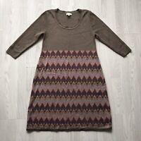 MONSOON Wool Blend Patterned Midi Jumper Dress Beige Mauve size L