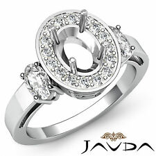 Three Stone Diamond Engagement Filigree Ring 18k White Gold Oval Semi Mount 1ct