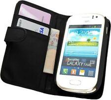 NERO Portafoglio Pelle Custodia Cover per Samsung Galaxy Fame GT-S6810 / GT S6810P