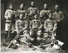 Old Time Hockey Players Hockey Sticks Puck Pads Skates Gloves Calumet MI 1910