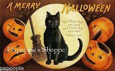 Fabric Block Halloween Vintage Postcard Image Black Cat Pumpkins JOL Moon Witch