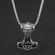 Thors Hammer Pendant Necklace Stainless Steel Irish Celtic Knot Rock Style