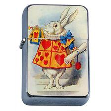 Windproof Refillable Flip Top Oil Lighter Alice in Wonderland D3 Tenniel Hookah