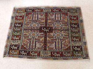 Magnificent Old Oriental Carpet Woolen Chinese Rug. Signed. Peacocks, N°2