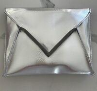 LA PRAIRIE silver metallic makeup pouch cosmetic clutch bag travel case NEW