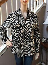 MISOOK Black Tan Animal Zebra Print Zip Jacket Paillettes S