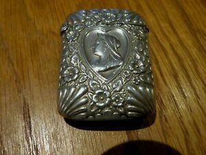 ORNIGAL SOLID STERLING SILVER HALLMARKED 1896 HEART QUEEN VICTORIA VESTA CASE