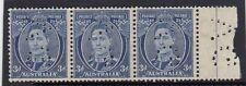 Stamps Australia 3d blue KGV1 die 3 perfin VG sideways marginal strip of 3