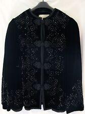 OSCAR DE LA RENTA Embroidered/Beaded Velvet Black Jacket Women's Size 8