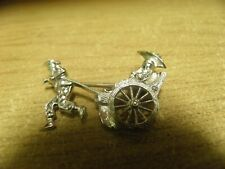 VINTAGE 935 SILVER CHINESE RICKSHAW MARCASITE BROOCH PERSON PULLING CARRIAGE
