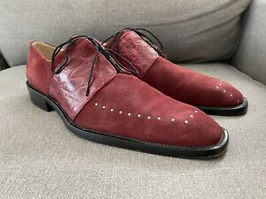 Tullio Burgundy Suede Alligator Dress Shoes Men's Size 10 Made In Italy