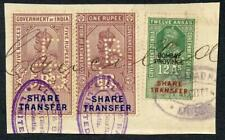 India KGV 3 x Share Transfer Revenue Stamps on piece