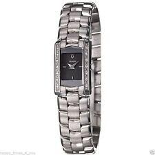 Stainless Steel Gray Dial Quartz Watch Bulova Swiss Women's 96R11 14 Diamonds