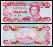 Bahamas – P44a  3 Dollar Uncirculated Banknote.