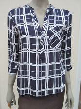 WOMENS DARK NAVY / WHITE CHECK 3/4 SLEEVED TOP - ATMOSPHERE - 12