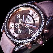 Excellanc Uhr Damenuhr Armbanduhr Rose Gold Farben Strass L19