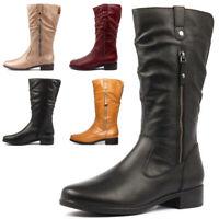 Damen Stiefel Kniehoch Blockabsatz Winter Freizeit Cowboy Biker Boots Schuhe