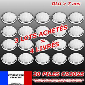 LOT   x 20 Piles bouton CR2025  CR 2025 Lithium PC calculatrice télécommande 3V