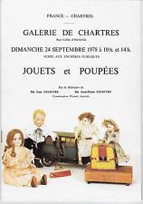 CATALOGUE DE VENTE. CHARTRES. JOUETS & POUPEES. 24-09-1978. REF 4871