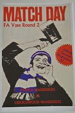 Football Programme. Ipswich Wanderers v Cricklewood Wanderers. FA Vase 21.11.15.