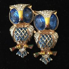 Coro Craft Duette 925 Sterling Blue Owls Pin Clip Brooch - No Reserve